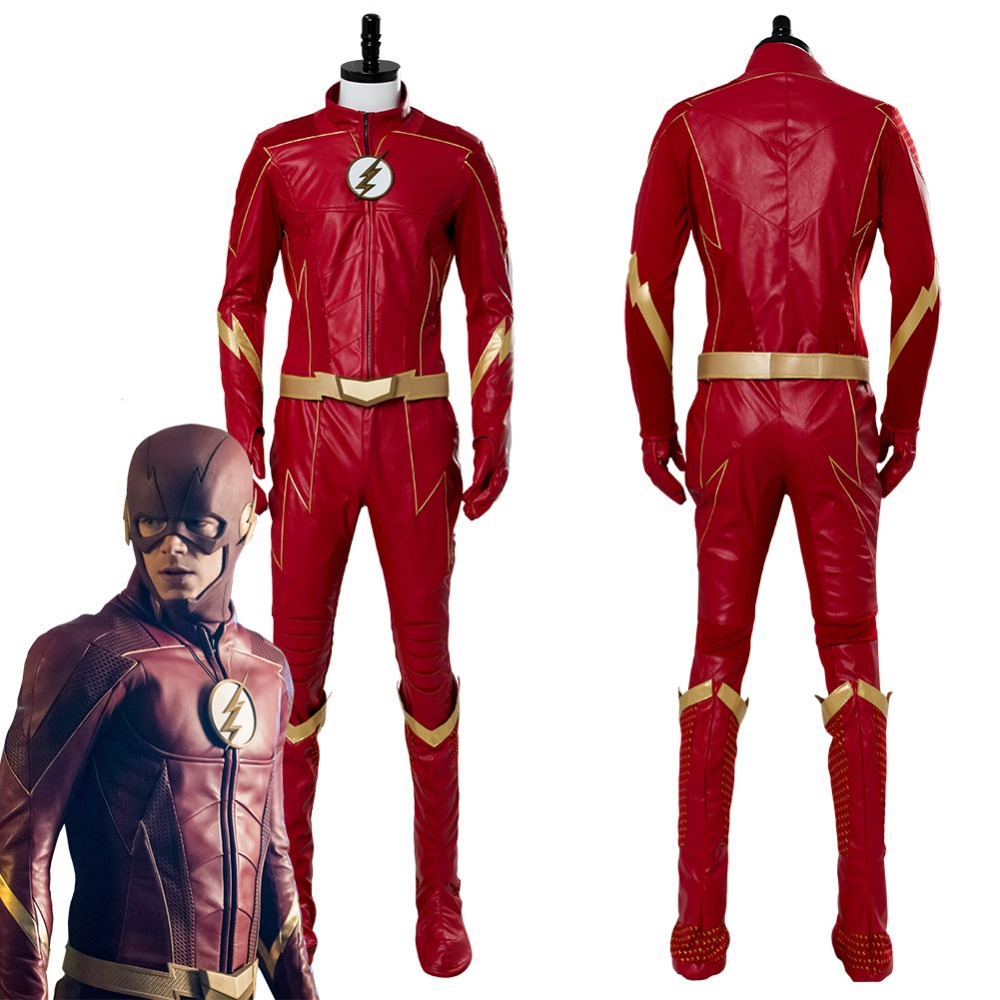 Cosplay Costume The <font><b>Flash</b></font> Season 4 <font><b>Barry</b></font> <font><b>Allen</b></font> <font><b>Flash</b></font> Cosplay Costume Outfit Adult Men Halloween Carnival Costumes Custom Made image