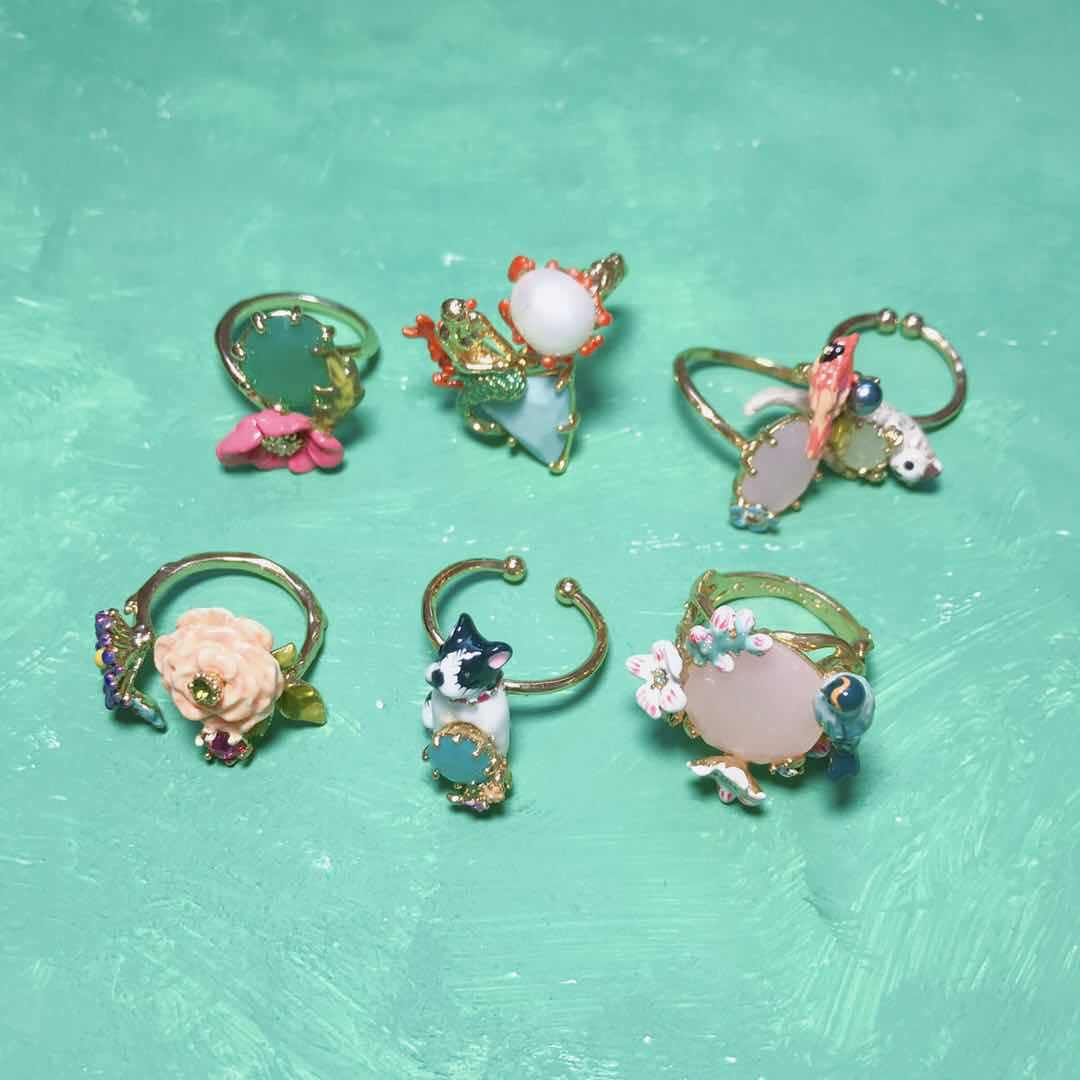Amybaby Handmade Enamel Glaze Cute Cat Dog Parrot Chihuahua Womens Adjustable Ring Jewelry For Party