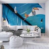 Custom Modern Wallpaper Concise Feather Parrot Photo Wallpaper for Kids Environment Friendly 3d Wall Murals Thicken Wall Mural