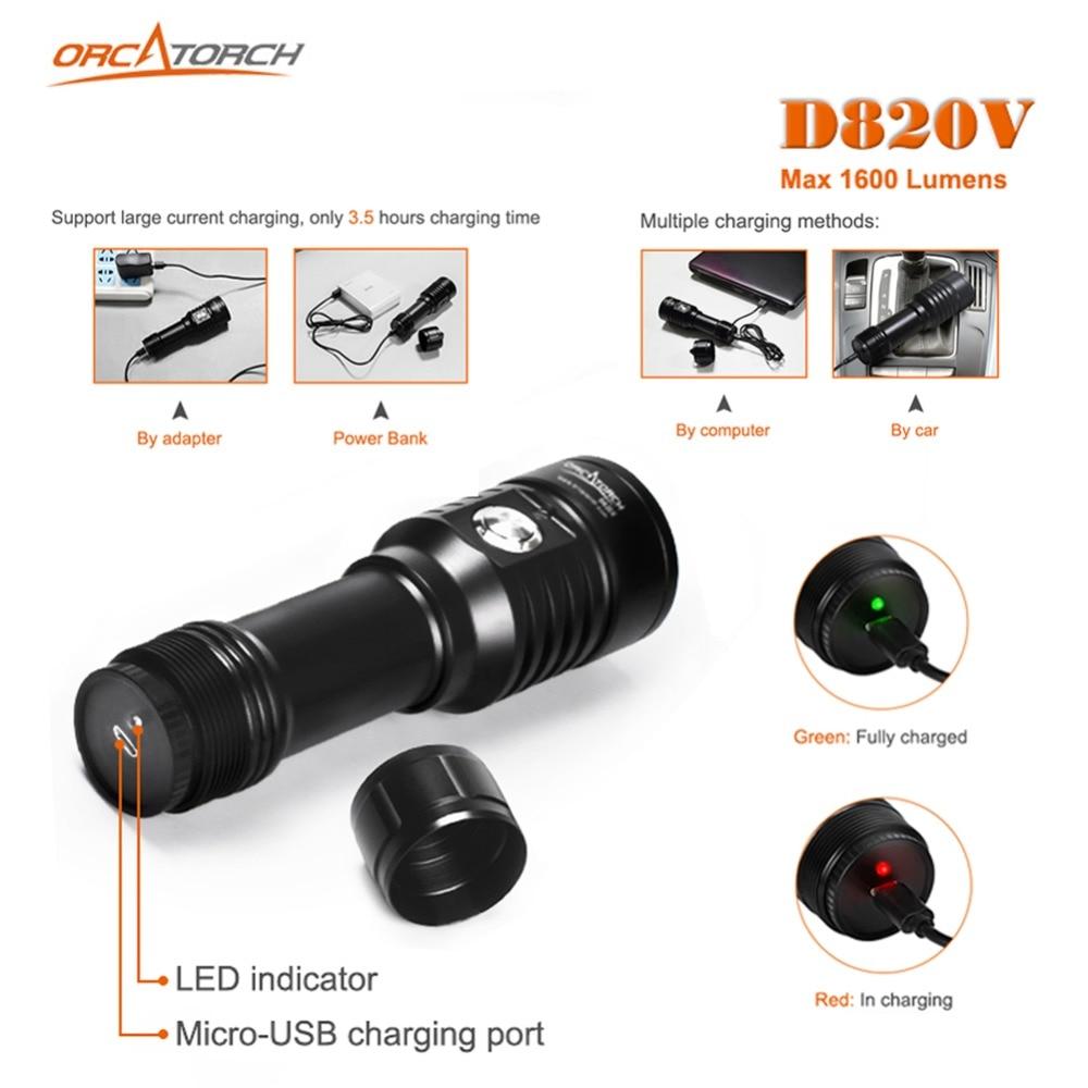 LED Zaklamp Duiken Onderwater Fotografie Video Camera Tactische Zaklamp D820v 120 Graden Wit UV Rode LED Lanterna Fakkel - 5