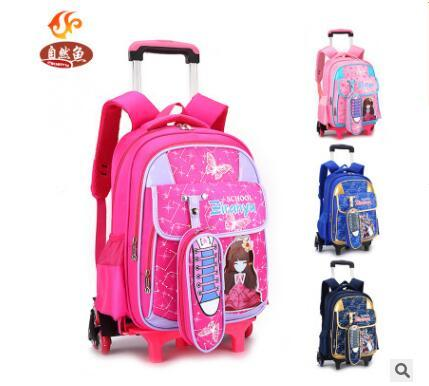 Wheeled Backpack For Girls Kid School Backpack On Wheels Student Trolley School Backpack Bag For Boys Kid's Luggage Rolling Bag