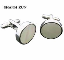 SHANH ZUN Men's Stainless Steel Shirt Cufflinks Mother of Pearl Shell Men Cuff Links For Wedding Party Simple Men Shirt Cufflink