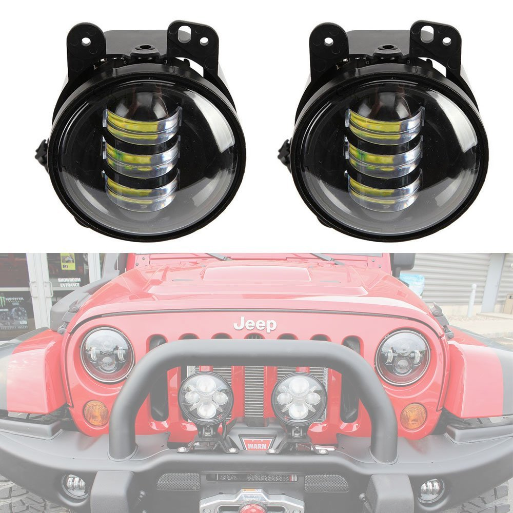 4'' inch led fog lights for Jeep Wrangler JK 2007-2015 LED fog lamps Bulb Auto len Projector Headlight Driving Offroad Lamp switch for jeep wrangler rocker switches for jeep wrangler jk