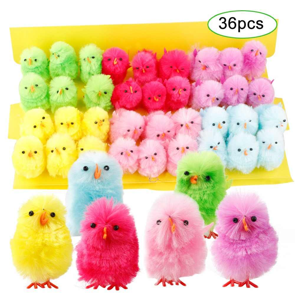 36 шт пасхальные мини цыплята DIY искусство ремесла 4 см красочные пушистые милые