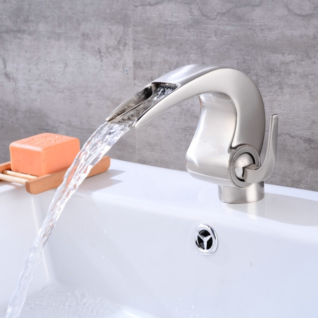 Free Shipping Becola New Design Waterfall Faucet Innovative Bathroom Faucet  Brushed Nickel Brass Basin Tap B