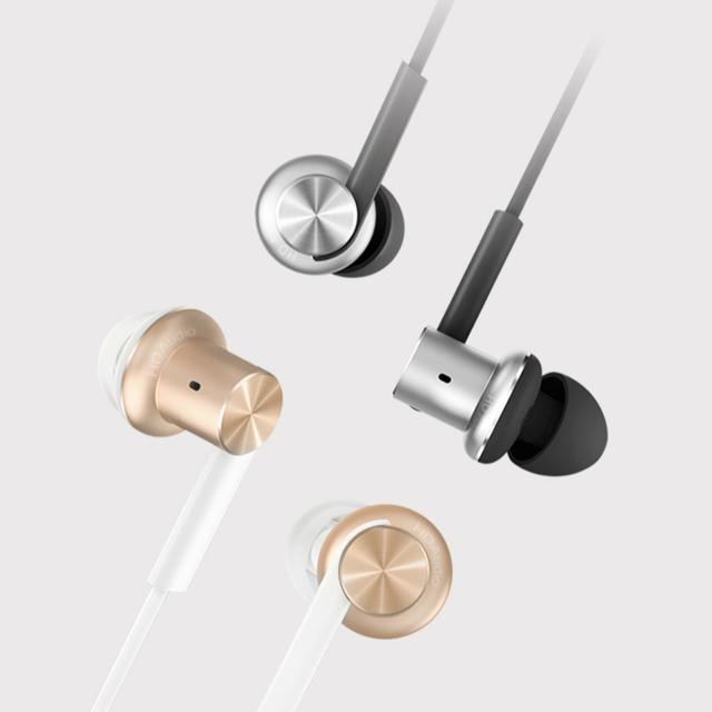 Original xiaomi pistão duplo motorista híbrido rosa de ouro prata círculo de ferro caixa de fone de ouvido estéreo fones de ouvido microfone para xiao mi android