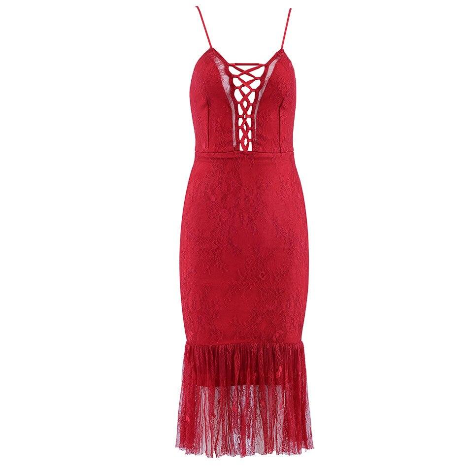 Robes Strap Bandage Moulante Dressbird D'été Femmes Red Sexy De Sans Spaghetti Club Évider Dentelle Verano Robe Manches oedxBC