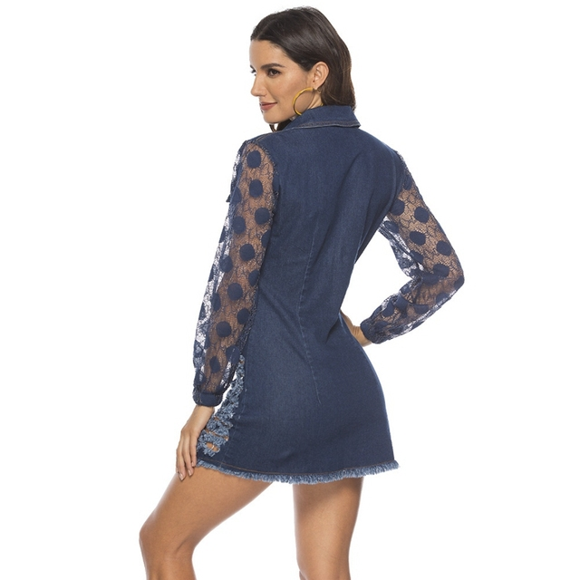 spring Long Sleeves Casual bodycon Dress Women Sexy Lace patchwork ripped Denim Dress Button party Mini Dress elegant Jean Dress 4