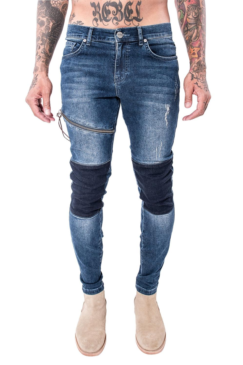 Hi-Street Mens Ripped  Biker Jeans Motorcycle Slim Fit zipper Patchwork Blue Moto Denim Pants Joggers Skinny Men 2017 hot sell big size outdoor boots men high top warm snow boots winter hiking shoes leather men trekking sneakers black