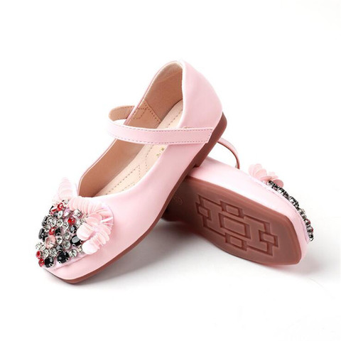 Kids shoes 2019 girls leather shoes spring autumn flat rhinestone flowers children soft bottom princess shoes Multan