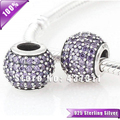 100% Solid 925 Sterling Silver Lilac Charm Bead with Red Pave Ball Cz Crystals Fits Woman Bracelets & Bangles Necklaces LW170F