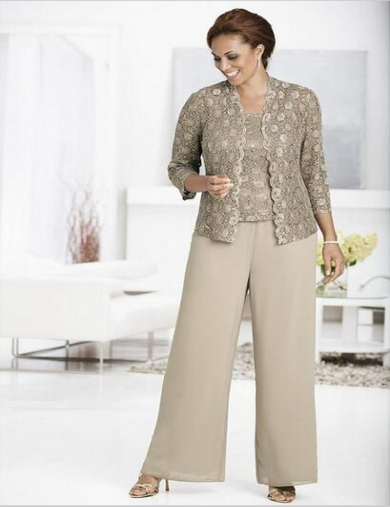 Mother of the bride pant suits plus size with lace jacket for Dress pant suits for weddings plus size