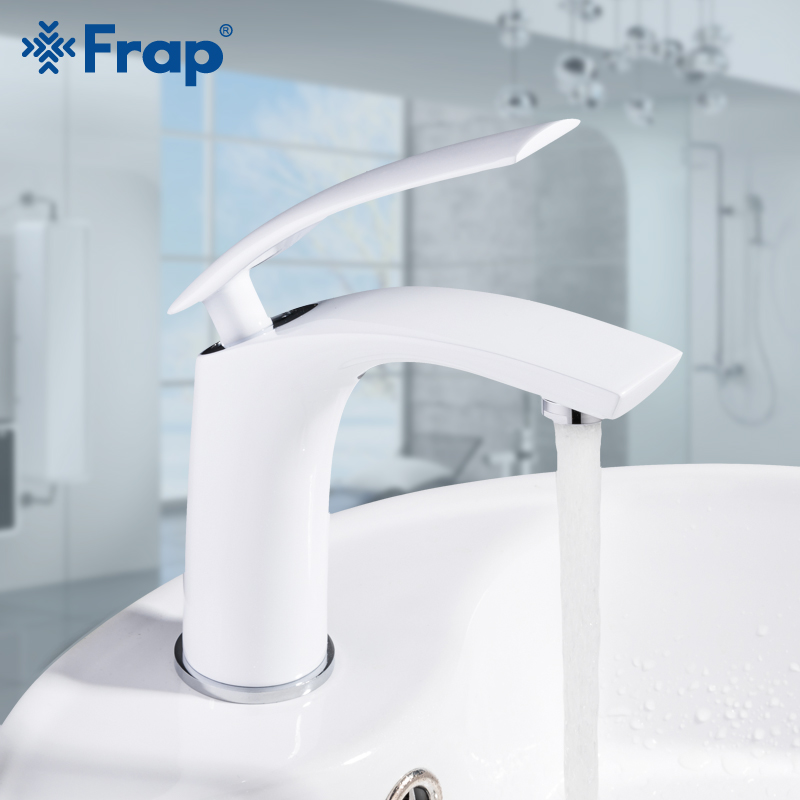 Frap Basin Faucet Water Tap Bathroom Faucet Solid White Brass Long Handle White Painting Mixer Hot
