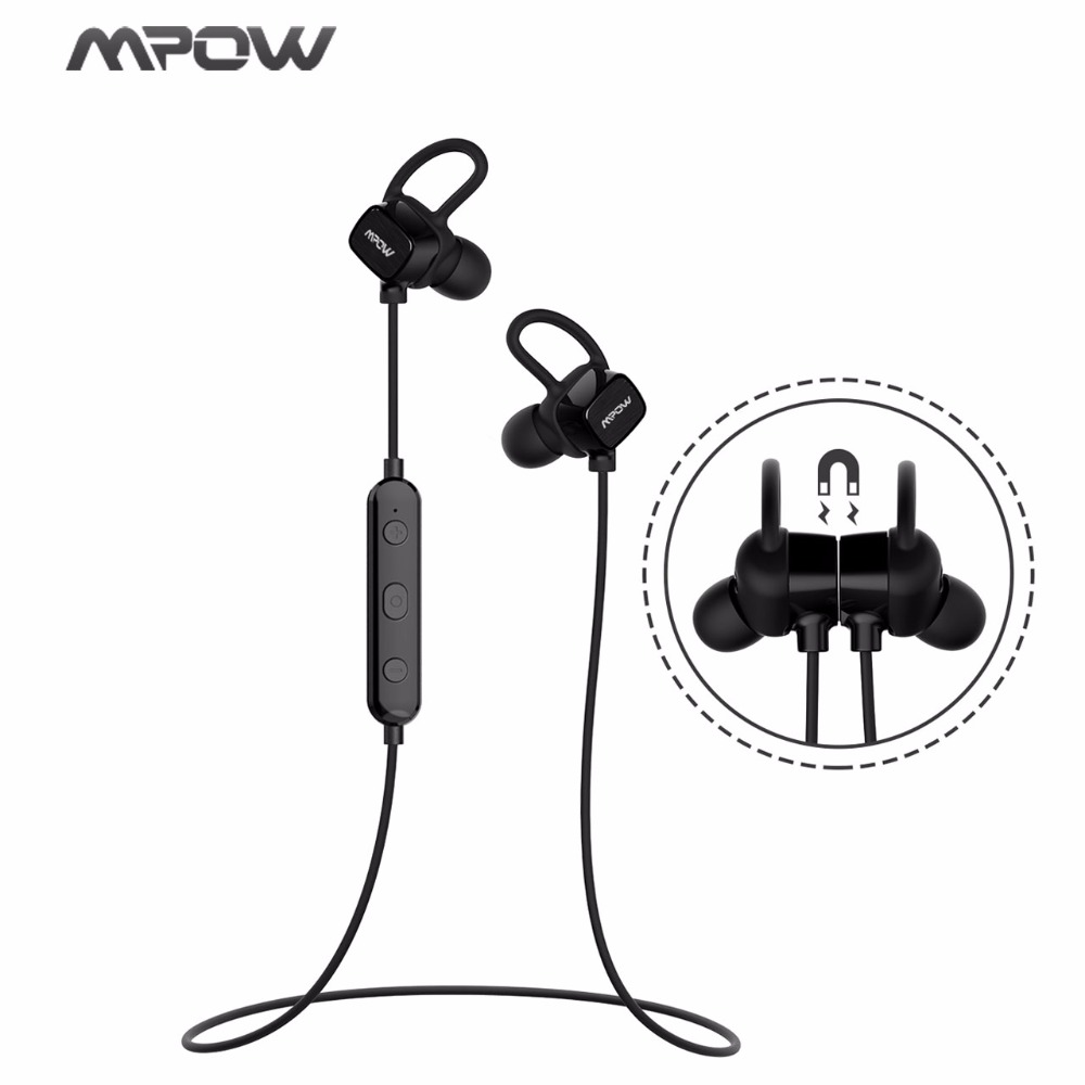 Mpow Original Wireless Earphone IPX7 Waterproof Bluetooth Earphone Magnetic Sport Earbud With Mic&Carrying Case For Cell Phones morul u5 plus wireless bluetooth earbud earphone bt 4 1 waterproof
