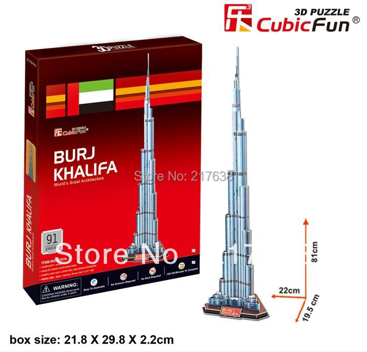 3D puzzle BURJ KHALIFA building model middle size ,  educational DIY toys, free shipping.