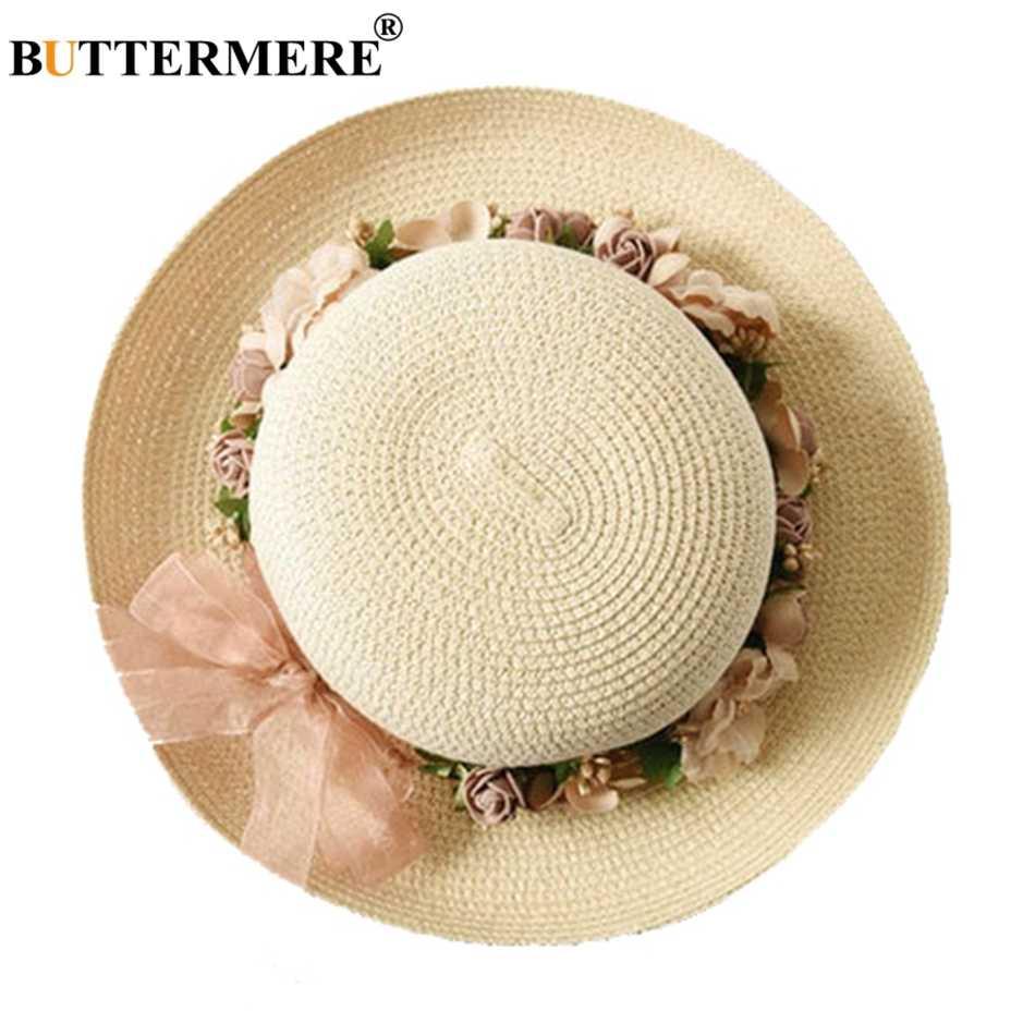 BUTTERMERE زهرة قبعة الشمس السيدات أنيقة أنيق قبعة للشاطئ فيدورا إمرأة الصيف الربيع هاواي الكورية نمط Bowknot قبعات من القش