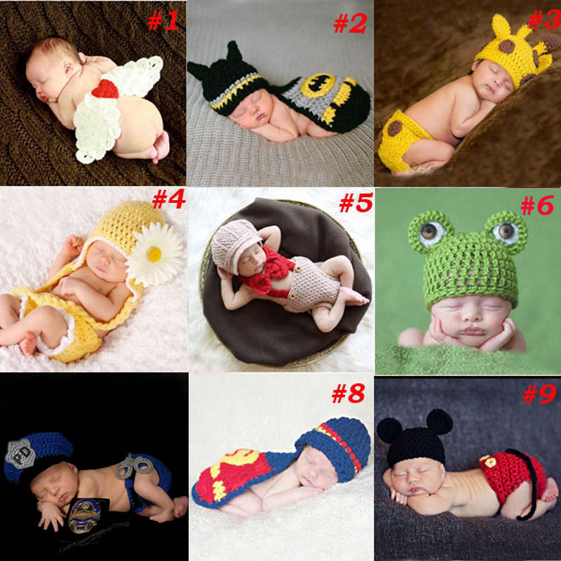 Baby Pasgeboren Fotografie Props Kostuum Hand Haak Gebreide Baby Beanie Hoed met Cape Dier Ontwerp Wing Batman Politieagent SG040