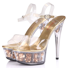 Free shipping new high-heeled 15cm Spring flowers with roses transparent thin waterproof sandals women crystal