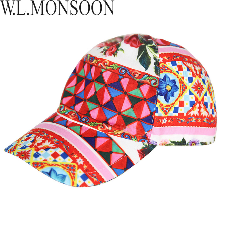 W.L.MONSOON Girls Summer Hats 2018 Brand Kids Flower Peaked Cap Baby Bucket Hats for Girls Caretto Print Children Sun Hat цена