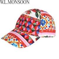 W L MONSOON Girls Summer Hats 2018 Brand Kids Flower Peaked Cap Baby Bucket Hats For