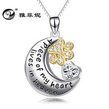 8767a35fa219 925 ornamentos de plata Luna colgante perros pata fuente accesorios fabricantes  de venta de cristal en forma de corazón