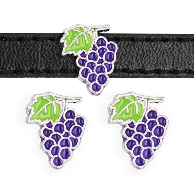 30PCS 8mm Alloy Cute Purple Grapes Slide Charms Slide Beads DIY 8mm Bracelets Wristbands,Belt Straps