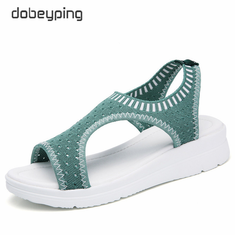 Image 4 - dobeyping Stretch Fabric Women Sandal Soft Woman Shoes Summer Womens Loafers Breathable Beach Female Sandals Large Size 35 43Low Heels   -