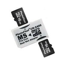 Duplo 2 slot super velocidade leitor de cartão micro sd tf à vara memória adaptador ms pro duo branco para câmera psp