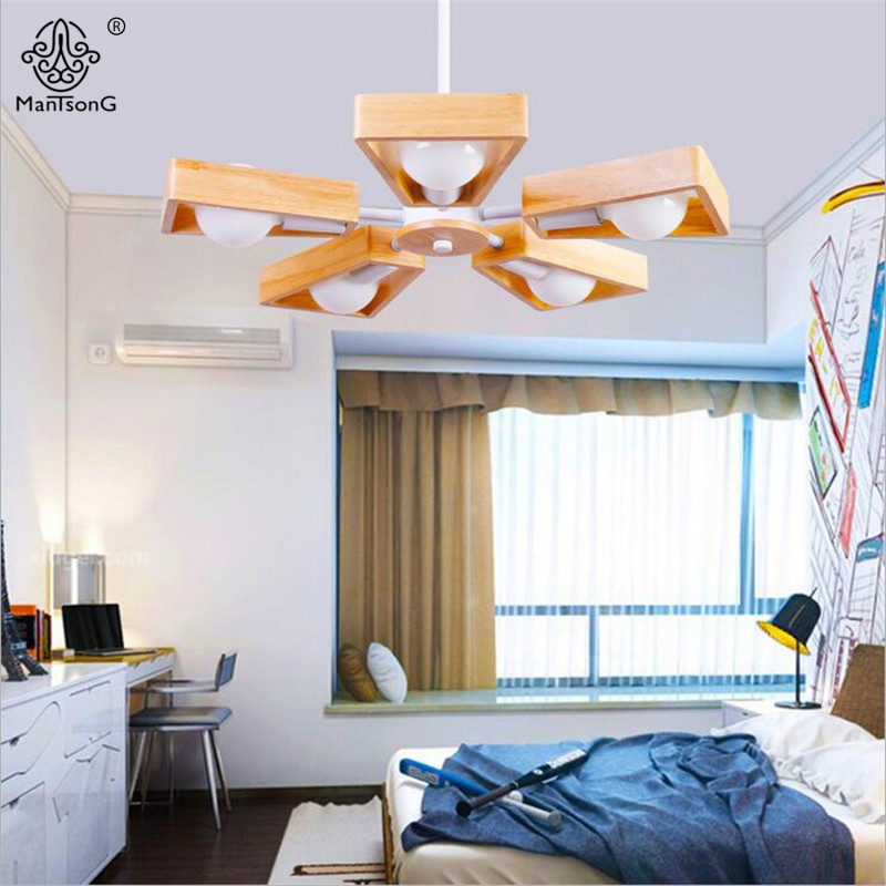 New Modern Nordic Style Pendant Lights Wood LED Bulb E27 5Heads AC 110V 220V Pendant Lighting Hanging Lamp Light for Dining Room led smart emergency lamp led bulb led e27 bulb lights light bulb energy saving 5w 7w 9w after power failure automatic lighting