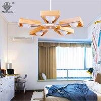 Modern Nordic Wood Chandelier Lighting LED Bulb E27 5 Heads AC 110V 220V Black White Metal
