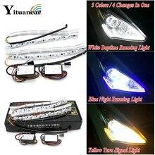 Yituancar 2X гибкие светодио дный светодиодные ночь и днем ходовые огни полосы два цвет изменить потока Янтарный поворотов DRL автомобиль день лампы Стиль