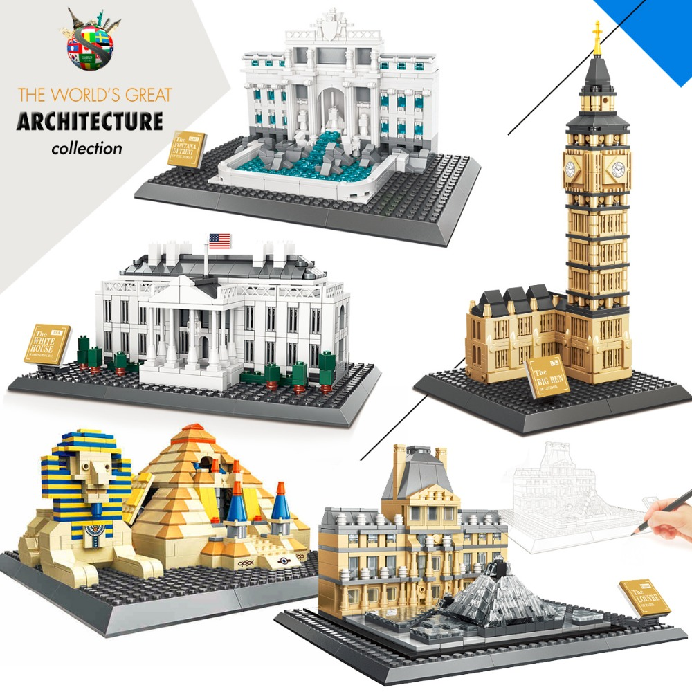 World Great Architecture Building Toys Blocks Bricks Set City Buildings kits Assembly Toys for Children Models Compatible lepin lepin 02012 city deepwater exploration vessel 60095 building blocks policeman toys children compatible with lego gift kid sets