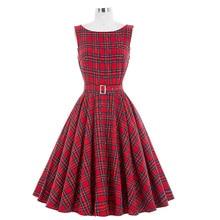 Belle poque Для женщин ретро платье в клетку Роза Цветочный принт элегантный рукавов-line партия рокабилли Повседневное офисные Платья для женщин S-XL