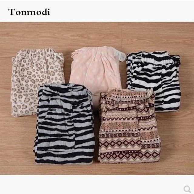 Pantalones de pijamas de Las Mujeres de Coral Polar Sueño Pantalones Damas Pantalones Salón ropa de Dormir
