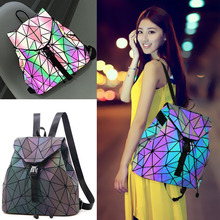 Designer Luminous Geometric School Backpack for Teenage Girls Matter Diamond Bookbags Chic Casual Travel Bag