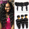 Spring Queen Hair Frontal Brazilian Virgin Hair Loose Wave With Frontal Closure Ear To Ear Lace Frontal Closure With Bundles