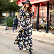 2016 Chiffon Vintage Floral Print Long Sleeve Summer Dress  New Spring Women Slim Fit & Flare Maxi Long Dresses Plus Size