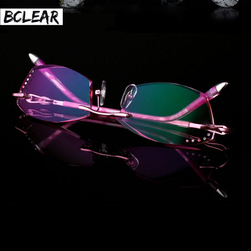 BCLEAR New Rimless Korean Women Optical Frame Including 1.61 Asphereic Tinted HMC UV400 EMI Lens High-end Gorgeous Fashionable