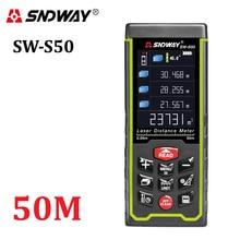 SNDWAY pantalla a Color 50 m 164ft Digital recargable Telémetro Láser distancia láser medidor medida herramientas de envío gratis