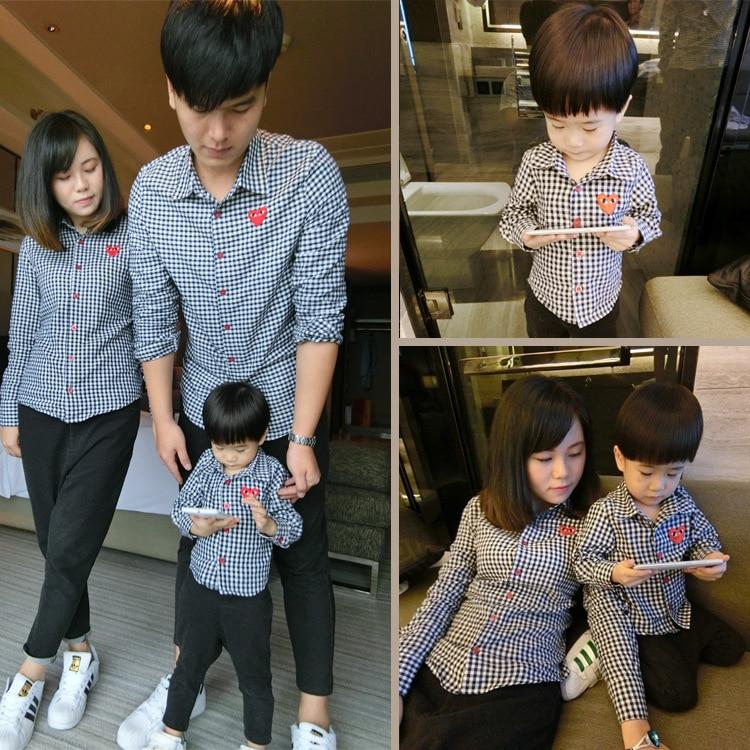 Baby Boys Black White Plaid Shirts Family Look Cotton Tops