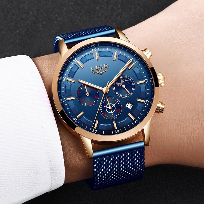 Relogio Masculino LIGE Роскошные Кварцевые часы для мужчин синий циферблат часы спортивные часы Moon Phase хронограф сетчатый ремень наручные часы