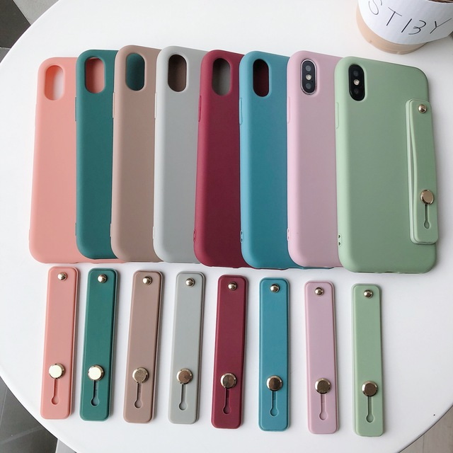 Candy Color Silicone Wrist Strap Bracket Soft TPU Cover for iPhone X XR XS MAX 6S 7 8 Plus 11 Pro Case With Wristband Hand Band