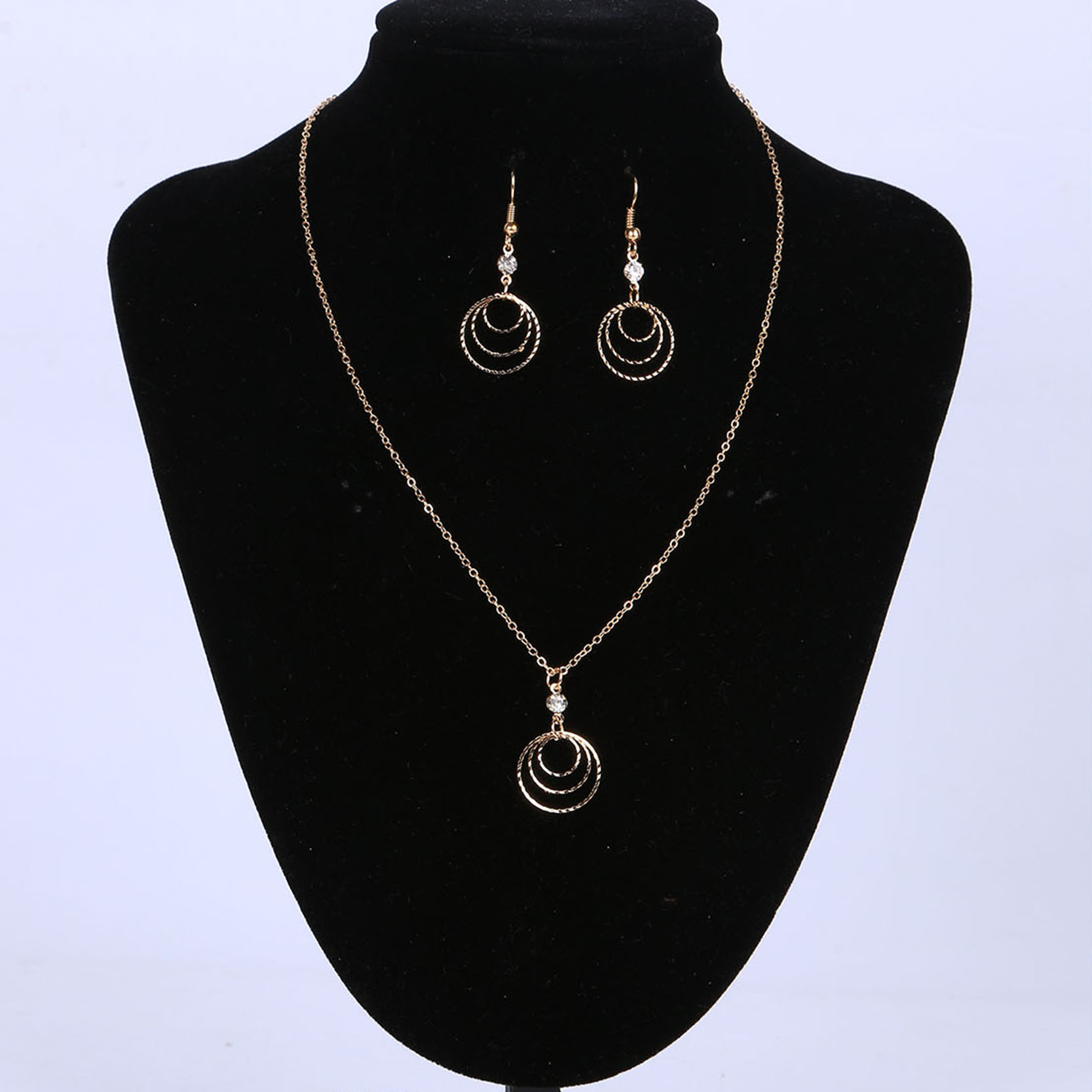 Jewelry-Set Wedding Gold-Color Women Earring And with Multi-Layer-Shaped