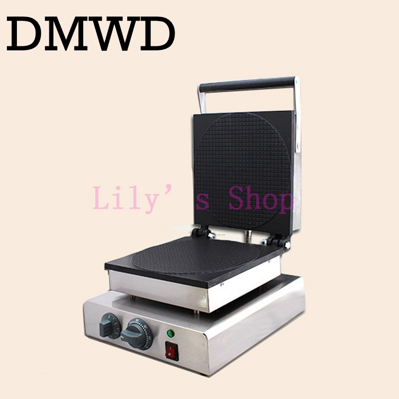 DMWD Electric ice cream cone maker Palacinka Baker waffle cone baking machine crepe Eggs rolls making machine snack pan 220-240V square pan rolled fried ice cream making machine snack machinery