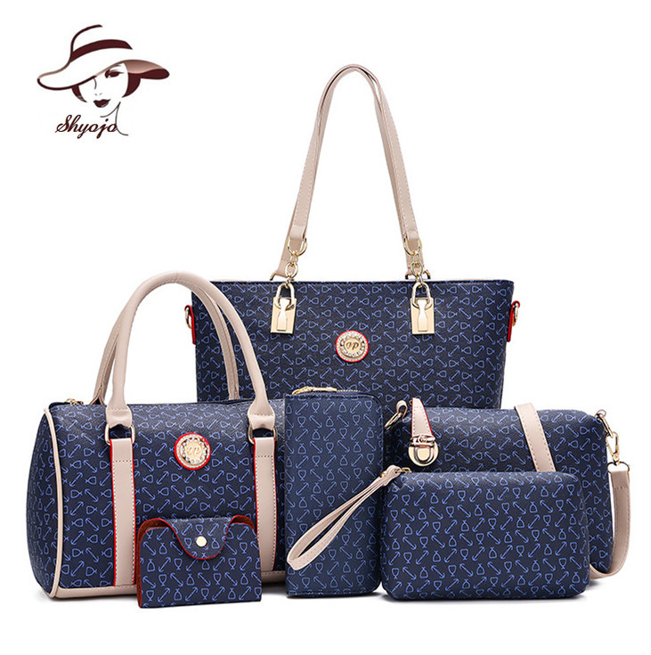 New 6 PC/Set Women Handbag Printing Composite Bag Casual Female Messenger Bags Brand Shoulder Bag Purse Wallet Leather Crossbody jooz brand luxury belts solid pu leather women handbag 3 pcs composite bags set female shoulder crossbody bag lady purse clutch