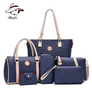 New 6 PC/Set Women Handbag Printing Composite Bag Casual Female Messenger Bags Brand Shoulder Bag Purse Wallet Leather Crossbody