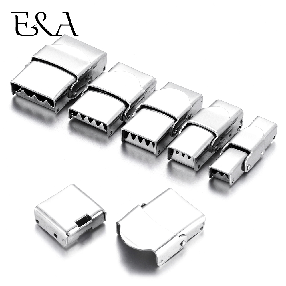5pcs Stainless Steel Clasp Crimp Jaw Hook Watch Band Clasps for Leather Bracelet Jewelry Making DIY Connectors Buckle Supplies in Jewelry Findings Components from Jewelry Accessories