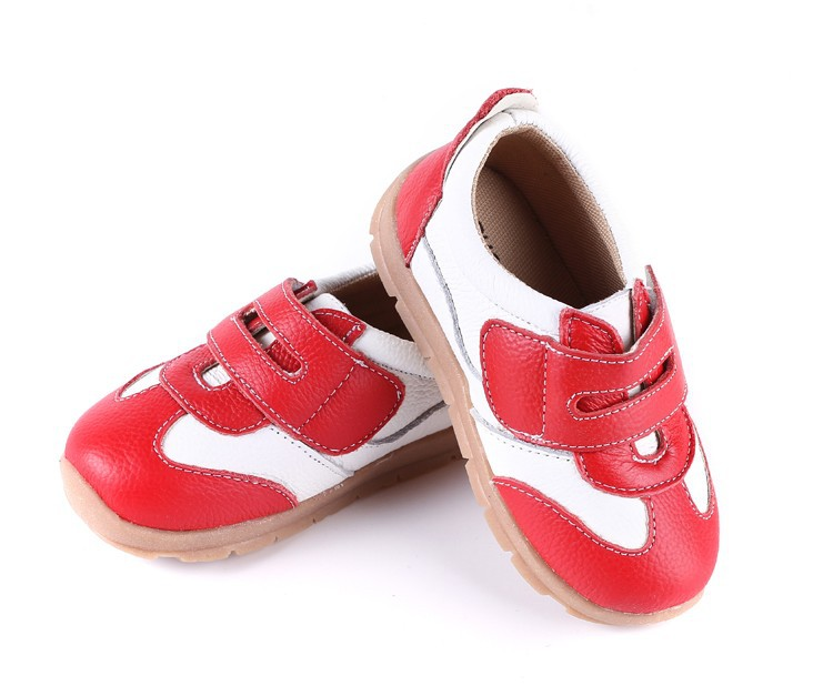 SandQ baby Boys sneakers soccers shoes girls sneakers Children leather shoes pink red black navy genuine leather flexible sole 17