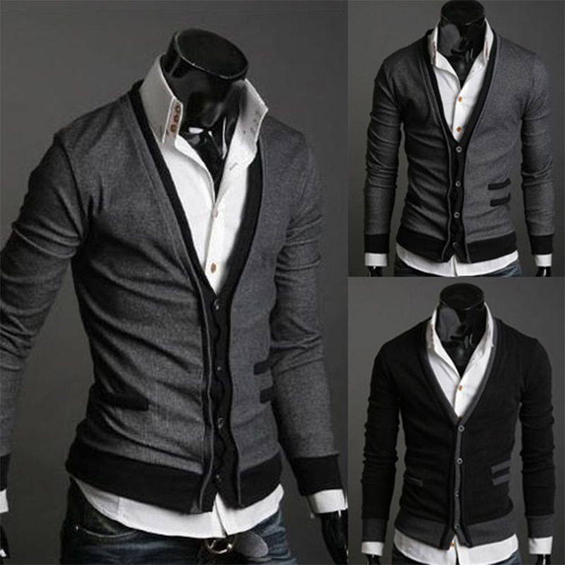 Zogaa Wool Sweater Coat Cardigan Zipper Man Cotton Fake Hot Pocket Dark-Gray/black Simple