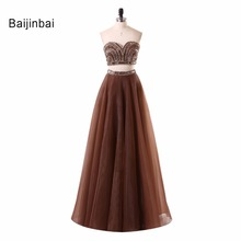 Tulle Two Pieces Beading Sequined Brown Prom Dress
